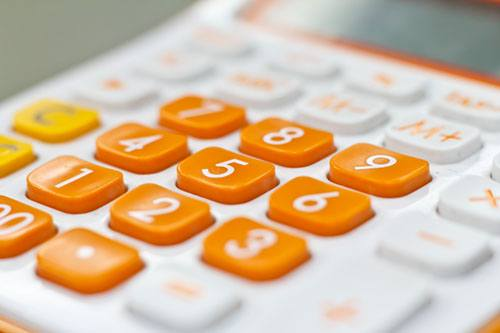 calculator with orange buttons
