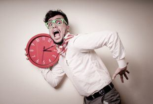 businessmen with clock